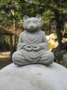 Cat Buddha Meditating Cat Statue by WestWindHomeGarden on Etsy
