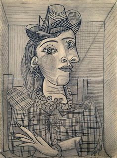 Pablo Picasso - Cubism - Portrait of Dora Maar Pablo Picasso Drawings, Kunst Picasso, Art Picasso, Picasso Paintings, Art Drawings, Georges Braque, Pablo Picasso Zeichnungen, Cubist Portraits, Illustration Art