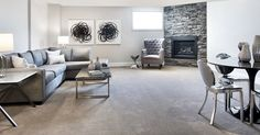 This is the included finished basement in the Red Oak semi-detached model home at our Poole Creek community in Kanata/Stittsville. Finished Basements, Semi Detached, Red Oak, Model Homes, Tartan, Townhouse, Community, Couch, Furniture