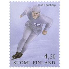 Postimerkki: Clas Thunberg | Suomen postimerkit Winter Olympic Games, Winter Olympics, Lillehammer, Baseball Cards, Sports, Finland, Stamps, Hs Sports, Sport