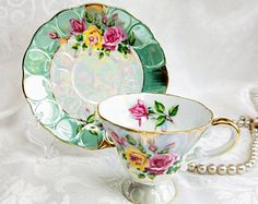 Vintage Japanese HB Lustreware Footed Tea Cup and Saucer Yellow Pink Rose Tea cup and saucer Sage Green Porcelain Shabby Chic Tea party