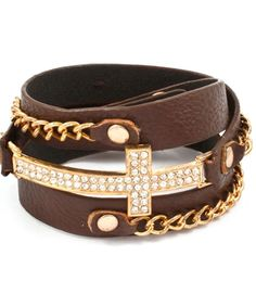 Diamond Cross Wrap Bracelet - Brown, Gold, Curb Chain