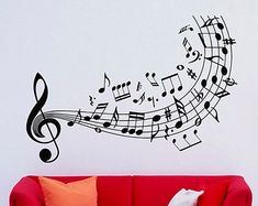 Clave de sol música pared calcomanías notas por LollipopDecals