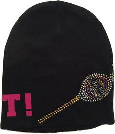 0be46e9ef7a FBV Girls Custom Rhinestone Sweet Candy Black Knit Beanie Hat