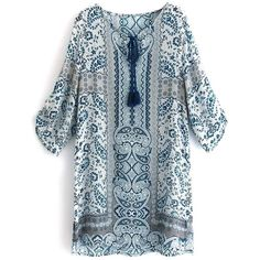 V Neck 3 4 Sleeve Printed Tunic African Print Dresses (35 BAM) ❤ liked on Polyvore featuring rosegal