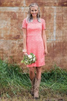 Short Classy Lace Coral Bridesmaid Dress for Country Wedding