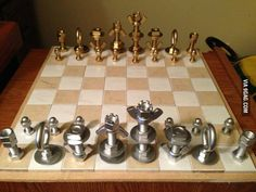 Chess set I made out of nuts and bolts