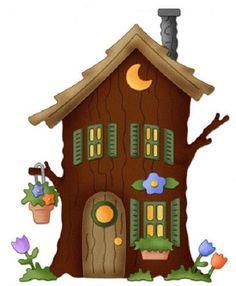 ФЕТРоголик (корейский фетр и фурнитура)   VK Gnome Tree Stump House, Gnome House, House Clipart, Cartoon House, Fairy Tree, House On The Rock, Cute House, House Drawing, Fabric Houses