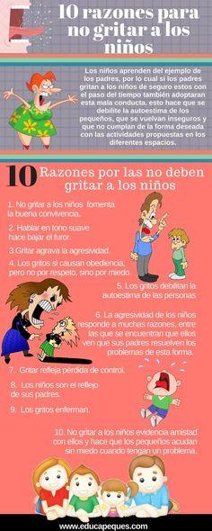 Infografía educativa: 10 razones por las que los padres no deben gritar a los niños