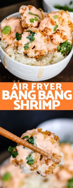 Air Fryer Bang Bang Shrimp (with lightened sauce) Air Fryer Bang Bang Shrimp are topped with a healthier version of the classic delicious sweet and spicy Bang Bang Sauce. They're the perfect lightened up appetizer or meal! Shrimp Recipes, Fish Recipes, Gourmet Recipes, Dinner Recipes, Cooking Recipes, Healthy Recipes, Dinner Ideas, Recipies, Bang Bang Shrimp