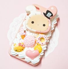 Kawaii Sentimental Circus San-X Squishy Bunny Shappo Kitty Pink Sweets Whipped Cream Handmade Custom iPhone 5 4/4S Decoden Case
