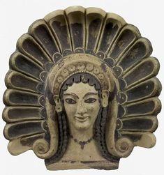 Lazio, Veio (Roma), Santuario di Portonaccio -  Antefissa a testa di Gorgone, 510-500 a.C. - ora al Museo Nazionale Etrusco di Villa Giulia