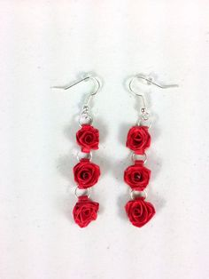 Triple Rose Earrings, Dangle Roses - quilled earrings, paper quilling earrings, quilling roses, quilled rose earrings, dangle earrings