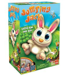 Jumping Jack, catch him and win! This super cool bunny has planted a carrot garden around his hill. The only way to get him to jump off the hill is to pick the right carrot. The youngest player starts by flicking the spinner to see how many carrots to pull from Jack's bunny hill. Play will continue until pulling out the carrot that makes Jack jump. Catch him to win!