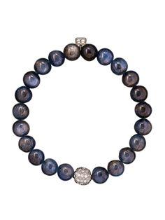 Sydney Evan Kyanite and Diamond Bead Bracelet