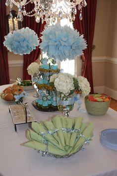 Loving the blues and greens for a boy baby shower. Make your own here: http://www.candywarehouse.com/buffet-builder/build/?Department-Occasions-Filter=Baby%20Shower%20Candy