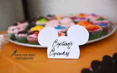 Hand cut food labels for Mickey party