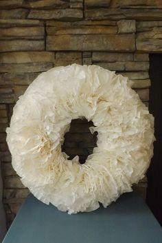 White Coffee Filter Wreath.