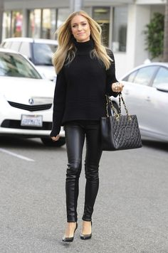Kristin Cavallari.  can't go wrong with black on black.  gorgeous leather skinnies.