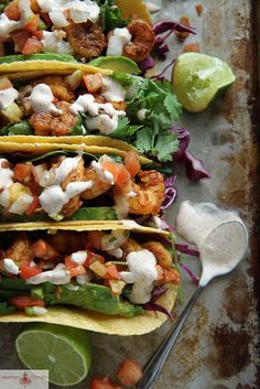 Chipotle Shrimp Tacos. They are so easy, delicious and fast to throw together. I will use lettuce instead of tortillas