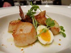 Seared Scallops, Pea Puree, Quail Egg, Pancetta and Pilu Bottarga ($21) at the Welcome Hotel