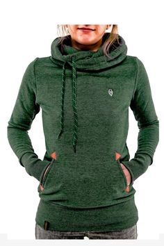 Green Hooded Long Sleeve Turtleneck Sweater