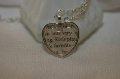 Elvis Presley Book Page Necklace Literary by OwlsNestCottage, $14.00