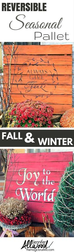 Make your seasonal front porch pallet versatile with two painted sides! It's easier to store and less work to build! Pallet Crafts, Pallet Art, Diy Pallet Projects, Wood Projects, Diy Crafts, Pallet Ideas, Fall Pallet Signs, Pallet Painting, Wood Crafts