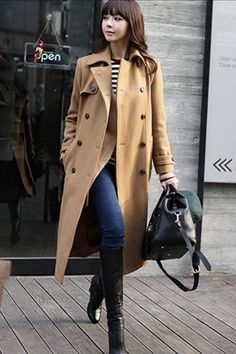 Shop Slim Double-breasted Wool Camel Coat at Pariscoming, personal womens clothing online store! high quality, cheap and big discount, latest fashional style!