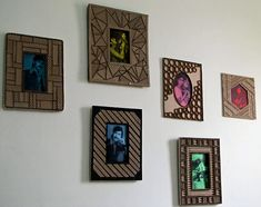 Designer cardboard photo frames, a mega tutorial. Full of great info about working with corrugated cardboard Diy Photo Frame Cardboard, Cardboard Frames, Diy Cardboard, Love Collage, Create Picture, Paper Crafts, Diy Crafts, Recycled Crafts, Picture Design