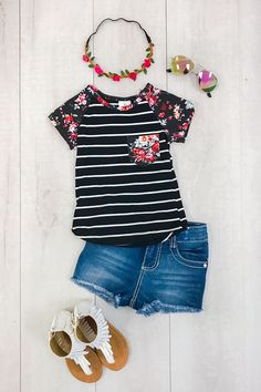 Black Stripe with Floral Pocket T-Shirt from Sparkle in Pink Our short sleeve shirts are great quality and stunning!  Perfect for Spring and Summer and even photoprops! Super stylish, yet so comfy!