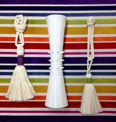 I'm loving our new Rainbow Cut Velvet. Cotton tassels wrapped in linen ribbons, available in many colors. And ceramic mod vase.