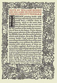 William Morris's notes on founding the Kelmscott Press