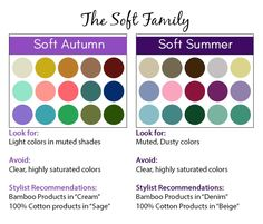 Soft Season Color Palette - Soft Autumn and Soft Summer