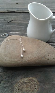 Sterling Silver Teardrop Lariat Necklace by ArbotiqueDesigns