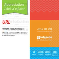 URL – Uniform Resource locator. The web address used for identiying a website or page.  #infobahnconsultancy #infobahn #ibc #seo #searchengineoptimization #digitalmarketing ... See more