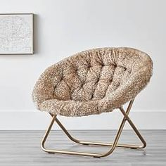Baby Leopard Faux Fur With Gold Base Hang A Round Chair