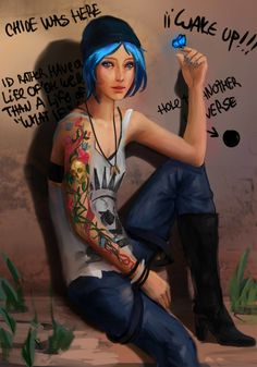 Life is Strange art > Chloe Price Chloe Price, Life Is Strange Fanart, Life Is Strange 3, Strange Art, Blue Haired Girl, Weird Tattoos, Chef D Oeuvre, Cosplay, Shadowrun