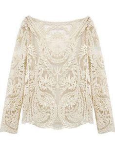 Shop Beige Long Sleeve Hollow Crochet Lace Blouse online. SheIn offers Beige Long Sleeve Hollow Crochet Lace Blouse & more to fit your fashionable needs.