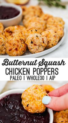Butternut Squash Chicken Poppers (Paleo, AIP) – Unbound Wellness These butternut squash chicken poppers are a tasty and easy autumn dish! It's paleo, and AIP. Serve them with cranberry sauce for dipping, and a side of fall vegetables. Desayuno Paleo, Paleo Recipes, Cooking Recipes, Paleo Meals, Snacks Recipes, What's Cooking, Recipes Dinner, Bread Recipes, Yummy Recipes