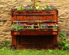 Old Piano Flower Planter In Germany Photograph