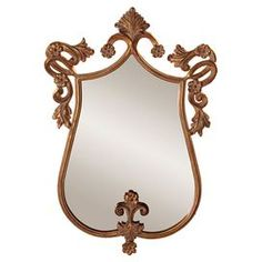 """Wall mirror with a scrolling gold and antique bronze-finished frame.  Product: Wall mirrorConstruction Material: Mirrored glassColor: Antique bronzeDimensions: 31"""" H x 20"""" W"""