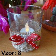 Svietnik sklenený s mašľou - Sviečka - S čajovou sviečkou LED (plus 1€), Vzor - Vzor 8