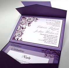 57L99 - 5x7 landscape pocket fold wedding invitation   Renaissance Writings... I'm obsessed with these gorgeous invitations!