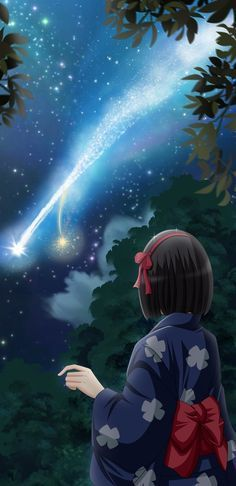 "Kimi no Na wa (Your Name) by Artemisumi on DeviantArt ""a Comet has fallen""One of my favorite scene in Your Name. ---- Other Your Name fanart. Kimi no Na wa (Your Name). Anime Scenery Wallpaper, Cartoon Wallpaper, Otaku, Film Anime, Anime Art, Mitsuha And Taki, Kimi No Na Wa Wallpaper, Your Name Wallpaper, Name Drawings"