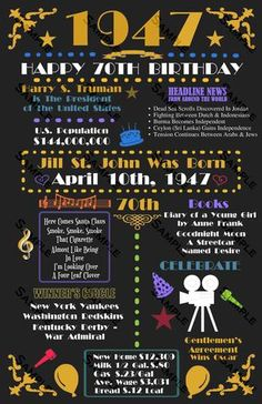 70th Birthday Gift Fun Facts from 1947 70th Birthday Party Decoration Poster 11 x 17 DIGITAL DOWNLOAD JPG