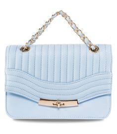 Panel Chain Strap Bag by New Look. Cute bag with stitching detail on the flap, with baby blue color, made from synthetic leather, turn lock closure, one main compartment, fabric inner lining, inner pocket, metal shoulder strap, and it has extra strap, length 29 cm.  http://www.zocko.com/z/JFL6i