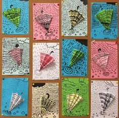 Arts And Crafts Ideas Middle School Art, Art School, Weather Art, Spring Art Projects, Kindergarten Art Projects, Ecole Art, 2nd Grade Art, Art Lessons Elementary, Autumn Art