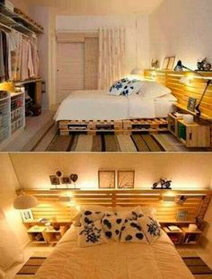 Wooden Pallet Bed Frame + crates for bedside tables. cost efficient and effective
