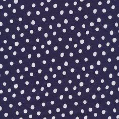 Organic Cotton Interlock - Navy Spots